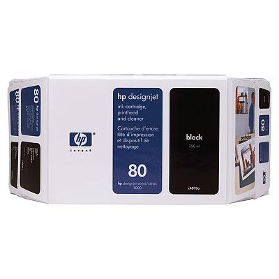 HP 80 Value Pack 350-ml Black Ink Cartridge and Printhead (C4890A)